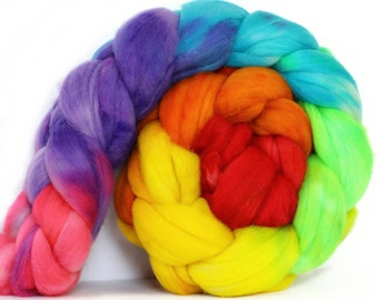 Crystal Rainbow 4 oz Targhee Roving Wool Superwash-Handpainted Top for Spinning or Crafting