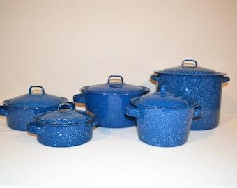 Speckled Blue Estate Enamelware Cooking Set of Five with Lids
