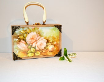 Vintage Cabbage Rose Box Purse 1950's