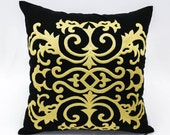 Damask Pillow Cover, Black Linen Gold Damask Embroidery, Decorative Throw Pillow, Classic Home Decor, Couch Pillow, Cushion Cover, Bedding