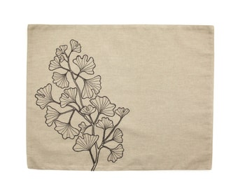 Ginkgo Placemats set of 4, Light Brown Linen Dark Brown Ginkgo Leaves Embroidery, Embroidered Table Linen, Fabric Placemats, Home Decor