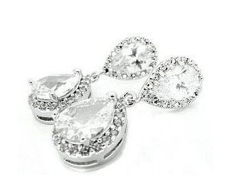 Crystal bridal earrings bridal wedding antique vintage style wedding bridal crystal drop earrings