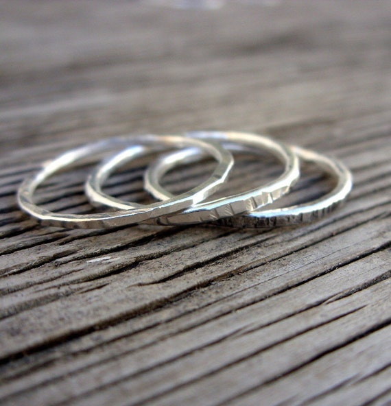 Stacking ring handmade from fine silver skinny stackable ring-size ONE ring- gift for her, girlfriend gift mother's day stackable ring