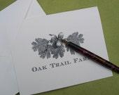 Oakleaf Acorn Personalized Notecards Vintage Inspired Oak Leaves Note Cards Gift Woodland Forest Stationery monogram Set 10 Mountain Cabin