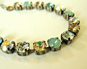 Handmade Swarovski® crystal bracelet. Beach, ocean, sea, resort, bling. Antique silver, adjustable.