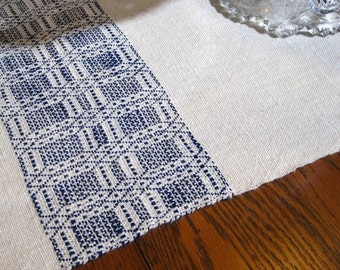 Handwoven Table Runner Hand Woven Dresser Scarf Thanksgiving Buffet Scarf Hand Woven Coffee Table Runner Natural and Blue Table Runner