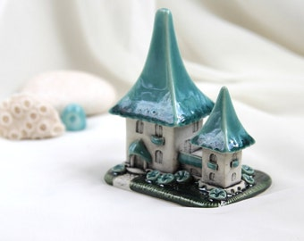 Summer Turquoise Sky House of tiny fairies -- unique Hand Made Ceramic Eco-Friendly Home Decor by studio Vishnya
