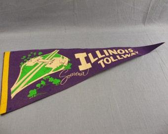 "Illinois Tollway Vintage Pennant 29"" Purple Souvenir Highway Road Freeway"