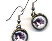 Cat Earrings,Surgical Steel Cat Earrings, Tabby Cat Earrings, Cat jewelry, Kitty earrings, Surgical Steel Jewelry by AnnaArt72