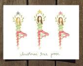 Christmas Tree Pose, Yoga-Inspired Holiday Card (Blank Inside)