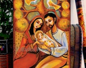 Holy Family, Christian art, Mary and Joseph, tree of life, baby Jesus, icon painting, home decor wall decor woman art on wood, 6x10.3