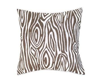 Woodgrain Pillow Cover, Premier Prints Willow Italian Brown Drew, Choose Size 16x16, 18x18, 20x20