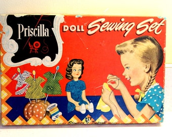 Vintage Doll Sewing Set, Girl's Doll Sewing Kit, Priscilla Standard Toykraft