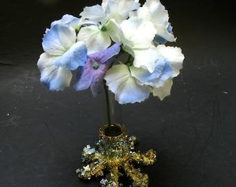 CRYSTAL VASE - Bismuth Crystal Bud Vase - OOAK  Art - Sparkling Iridescent Showpiece