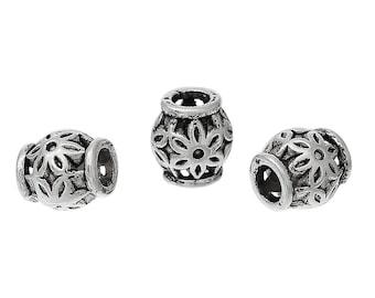 BULK - Carved Flower Barrel Spacer Bead - Set of 300 beads - #MP139B