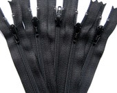 "Black YKK Zippers - 4"" 5"" 6"" 7"" 8"" 9"" 10"" 12"" 14"" 16""18"" 20"" 22"" / 5 YKK Nylon Zippers - 4 to 22 Inch"