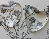 10 25mm Heart Clear Glass Pendant Cabochons