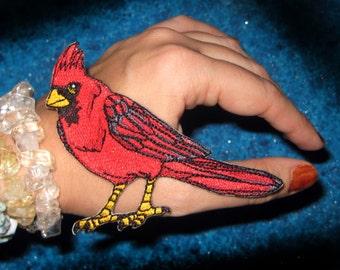 Northern Red Cardinal Bird Iron on Patch