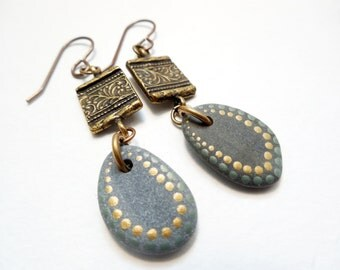 Hand Painted Stone and Golden Brass Earrings, Rustic Jewelry by Chelsea Girl Designs