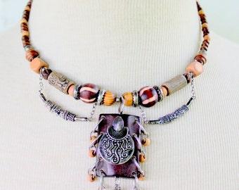 OTRESKA Boho Necklace Tribal Choker Brown Tan Beaded