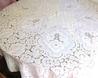 Vintage white lace floral tablecloth Victorian Gothic Home Decor Cottage Chic