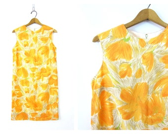 60s Yellow Floral Dress Mod Shift Dress Sleeveless retro 1960s Sun Dress Minidress Womens Size Medium Louannes Vintage