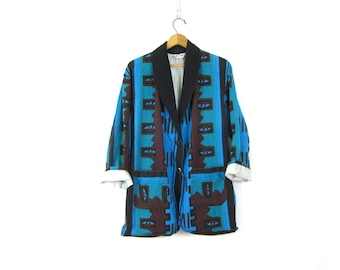 Vintage Southwestern Navajo Blazer Coat Slouchy Oversized Tribal Jacket Blue Cotton Fall Ethnic Print Womens size Large Dell's