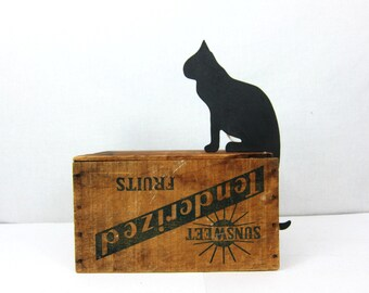 Cut out Black Vintage Cat Kitten Shelf sitter Dipslay 1980s