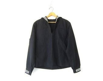 Navy Sailor Shirt Stars and Stripes Vintage Authentic Nautical Wool Naval SAILOR collar jacket Shirt Dress Uniform Men's Size 44R