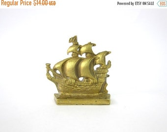 Brass Ship Bookend Gold Mid Century MOD home decor Vintage Bookshelf Book End Display Louanne's Estate Sale