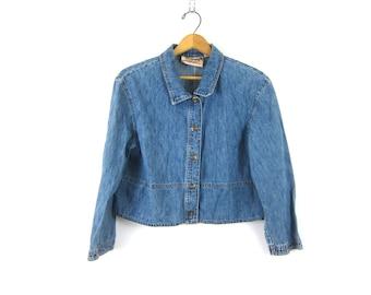 Jean Shirt Cropped button up shirt Crop Collared Blouse minimalist Prep Boho vintage denim top women's size 14 P
