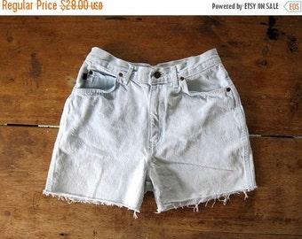80s Denim Shorts BLEACHED Faded Blue White 1980s High Waist Jean Shorts Frayed Worn In Denim Womens Small Medium Waist 28