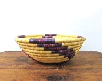 vintage rustic primitive woven Coil Basketweave bowl Natural Earthy Home Decor Purple Swirl Bohemian Chic