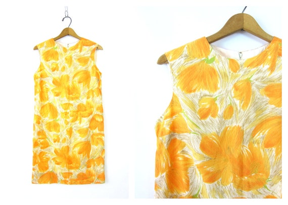 60s Yellow Floral Dress Mod Shift Dress Sleeveless retro 1960s Sun Dress Minidress Womens Size Medium Louannes Vintage