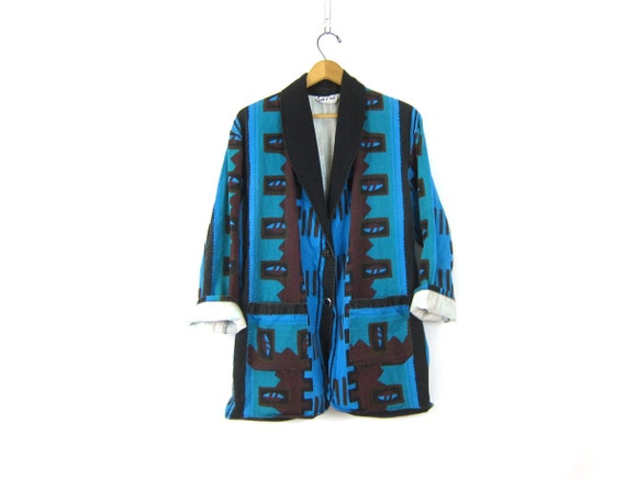 Vintage Southwestern Navajo Blazer Coat Slouchy Oversized Tribal Jacket Blue Cotton Ethnic Print Womens size Large Dell's