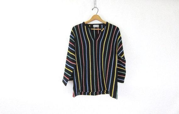 1970s Hippie Baja sweater tunic pullover black button Toggle knit shirt jumper Striped Stripes 70s Boho Womens medium Louanne's