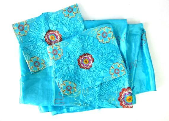 Aqua Blue Bedspread blanket vintage quilt Coverlet 1940s Vintage Oriental Asian WWII Era Satin Floral Embroidered Pillowcases Shams