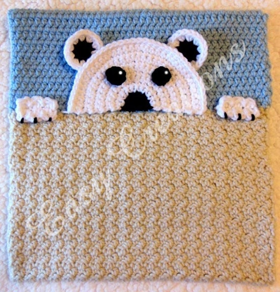 PDF CROCHET PATTERN Peek-a-Polar Bear, Polar Bear Pajama Pillow, boy Pj bag, girl Pj pillow ...