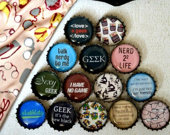 Geek Nerd Upcycled Bottlecap Magnets with Nerdy Gift Bag- Strong Upcycled Bottlecap Magnets