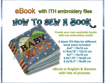 eBook How to sew a Book + 5 blank ITH embroidery files to create book pages Smart D'sign