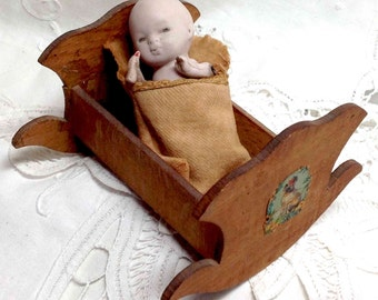 Antique Baby Doll Bisque Original Mini in Blanket and Wood Cradle - Germany No. 868 - Perfect Holiday Gift Collectible Vintage Porcelain