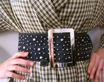 Betsey Johnson belt in blue metal studded suede from BASIA'S Private Collection - Free US SHIPPING