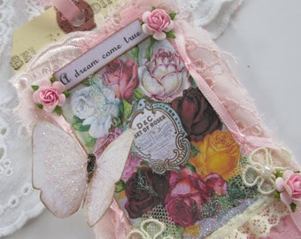 Floral Gift Tag, Mixed Media Art Tag, Vintage Perfume Label, Lace Collage Tag