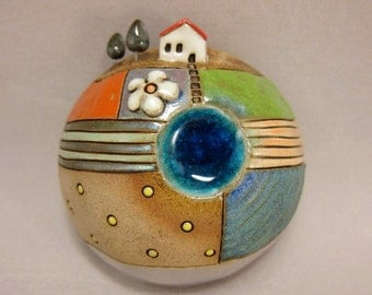 Planet Daisy ...3D Wall Globe in Stoneware