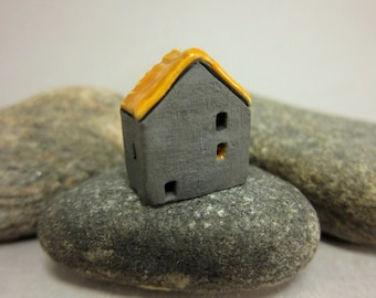Haunted Cottage...Naked Raku House Bead/Ornament...Glazed Roof
