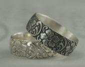 Silver Wedding Band--Wide Floral Band--Aloha Ring--925 Sterling Silver Band--Women's Wide Band--Hawaiian Design Band--Hibiscus Flower Ring