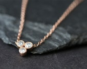 Diamond Bezel Trio Necklace