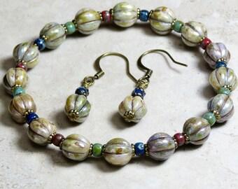 Rustic Green and Multi Colored, Glass Beaded, Bracelet and Earrings Set, Czech Bracelet, Bracelet Earring Set, Jewelry Set, Czech Earrings