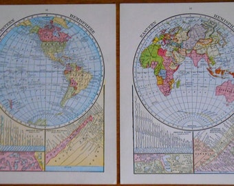 Vintage map set of 2 1920s Eastern and Western Hemisphere, small size old maps
