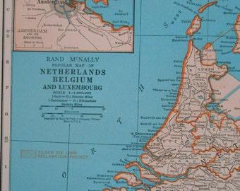 Vintage Map of Belgium, Netherlands, 1940s original Atlas Map, Old maps as art